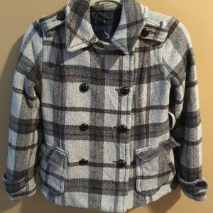 American Eagle Wool Blend Plaid Double Breasted